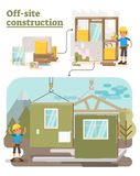 Off Site Construction. Modular Off Site Construction process vector illustration Stock Photo