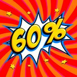 60 off. Sixty percent 60 off sale on red twisted background. Comics pop-art style bang shape. Seasonal sale banner. Falling prices discounts. Vector Royalty Free Stock Photo