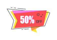 50 Off Special Offer Promo Sticker with Star Icon Stock Photos