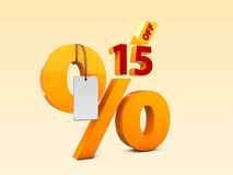 15 Off Special offer sale 3d illustration. Discount offer price symbol Royalty Free Stock Photos