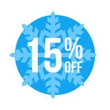 15% Off Sticker Winter Sale. Blue Shop Vector Sticker Sign For 15% Clearance Off Vector Illustration