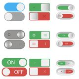 On and Off switch buttons. Set of Include and shutdown toggle sliders. Element of design for applications, websites. Vector. Royalty Free Stock Images