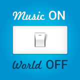 On off switch. Conceptual image with swtitch on music and world Stock Photo