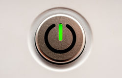 On off switch. Green led on off switch stock image