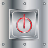 Off switch metallic button Royalty Free Stock Photography