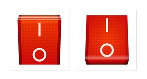 ON/OFF switch. Red power on/off switches Stock Photo