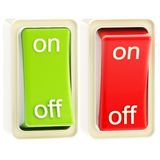 On and off switch tumblers isolated. On and off switch glossy bright red and green tumblers isolated royalty free illustration