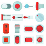 On off switch web buttons icons set, cartoon style Royalty Free Stock Photo