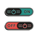 On and Off switches or buttons. Vector set  on white background. Stock Photos