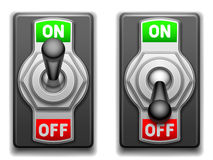 On and Off switches. Stock Image