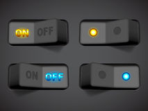 On and Off switches. Collection of On and Off switches Royalty Free Stock Photo