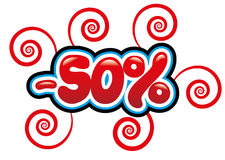 50% off tag fun. 50 percent off tag in a bubble and bright red writing Stock Illustration
