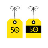 50 OFF tag icon, vector illustration. Black and yellow color co Royalty Free Stock Images
