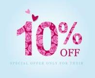 10 off. ten percent discount. Pink roses stock illustration