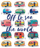 Off to see the world. Happy Camper Card. Retro Camper Fun. Happy Camper Card. Camping Travels Greeting Card. Cute little vintage travel trailers caravan. Vector stock illustration