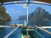 Off to snorkle. Tropical seascape with boat and snorkle gear in El Nido bay, pristine Palawan, Philippines Royalty Free Stock Image