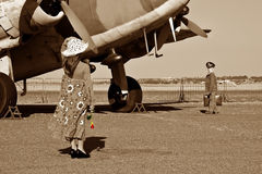 Off to war in a plane Royalty Free Stock Image