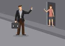 Off to Work and Wave Goodbye Cartoon Vector Illustration Royalty Free Stock Image