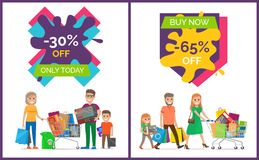 -30 Off Only Today Banners Vector Illustration. 30 off only today, buy now -65 off, banners representing shopping people with bags, woman dressed in green pulls Stock Photo