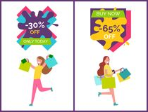 -30 Off Only Today Placards Vector Illustration. 30 off only today and buy now -65 placards that represent woman with raised hands and bags and other lady happy Stock Photography