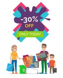 -30 Off Only Today Placard Vector Illustration. 30 off only today placard made up of lettering in frame, image of woman and man, standing by shopping cart Royalty Free Stock Photography