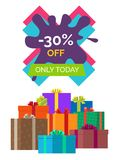 -30 off Only Today Sale Vector illustration Label. 30 off only today sale icon on white. Vector illustration with special proposition on color X-shaped sign Stock Photos