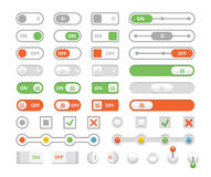 On and off toggle switches, elements of user interface vector set Royalty Free Stock Photos