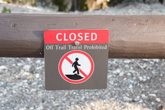 Off Trail Travel Prohibited Sign Stock Photography