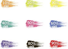 Off vector tags, sale. Colorful sale label icons, product packing Stock Image