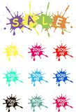 Off vector tags, sale. The spot of spilled paint on white. Colorful sale label icons, product packing Royalty Free Stock Images