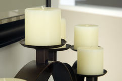 Off white candles Stock Image