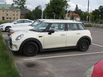 Off white Mini Cooper in Stockholm Royalty Free Stock Photos