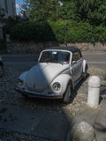 Off white Volkswagen Beetle car in Bergamo Stock Photography