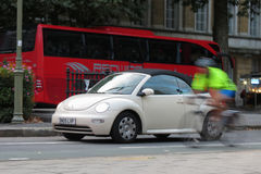 Off white Volkswagen New Beetle car in Oxford Stock Photo