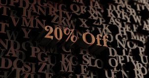 20% Off - Wooden 3D rendered letters/message. Can be used for an online banner ad or a print postcard Royalty Free Stock Image
