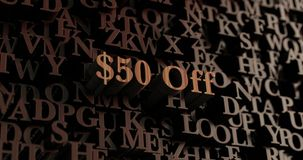 $50 Off - Wooden 3D rendered letters/message. Can be used for an online banner ad or a print postcard vector illustration