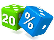 Twenty percent. 20% off written on rolling dice on white background, green and blue dice in glossy finish, 3d render Royalty Free Stock Images