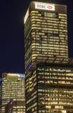 Offcie principal de HSBC dans le quai jaune canari Image stock