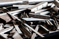 Offcuts and spare parts of raw steel Stock Photography