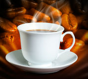 Сoffee. Cup of coffee on dark background Royalty Free Stock Images