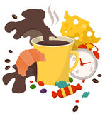 Сoffee  breakfast. Miscellaneous attributes of good-morning breakfast: cup of coffee, croissant, cheese and candy Royalty Free Stock Photos