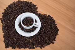 Сoffee heart. Heart shape made from coffee beans Stock Photography