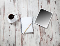 Сoffee notebook and tablet Stock Photos