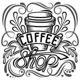 ? offee Verpackungsgestaltung Beschriftungshandzeichnung, Modeillustration des Themakaffees Verschlossener Becher, Speicher Getre Lizenzfreie Stockfotos