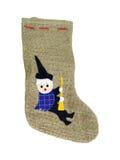 Offenbarung-Jutefaser-Socke mit schwarzer Befana Änderung am Objektprogramm Lizenzfreie Stockbilder