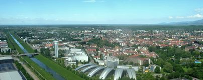 Offenburg aerial. Aerial panoramic view of Offenburg Sued, Baden Germany Royalty Free Stock Photos