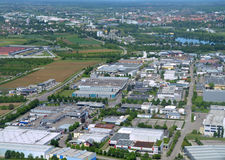 Offenburg Sued. Aerial view industrial area in Offenburg Sued, in the Ortenau region, Baden Germany Royalty Free Stock Images