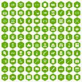 100 offence icons hexagon green Royalty Free Stock Photos