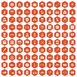 100 offence icons hexagon orange. 100 offence icons set in orange hexagon isolated vector illustration royalty free illustration
