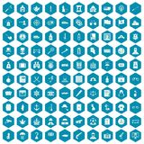 100 offence icons sapphirine violet. 100 offence icons set in sapphirine hexagon isolated vector illustration Royalty Free Stock Images